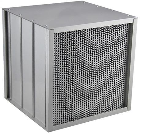 铝隔板高效过滤器又叫耐高湿铝隔板高效过滤网,铝隔板高效过滤器具有风量大,结构牢固,耐冲击,大风量,外形美观等优点