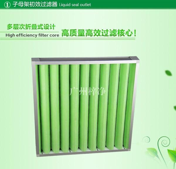 G4级子母架大风量初效过滤器主要特点为风量大,容尘量大,使用寿命长。