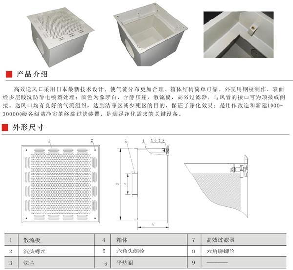 高效送风口箱体采用优质冷扎钢板制造,外表面静电喷塑处理,配散流板。