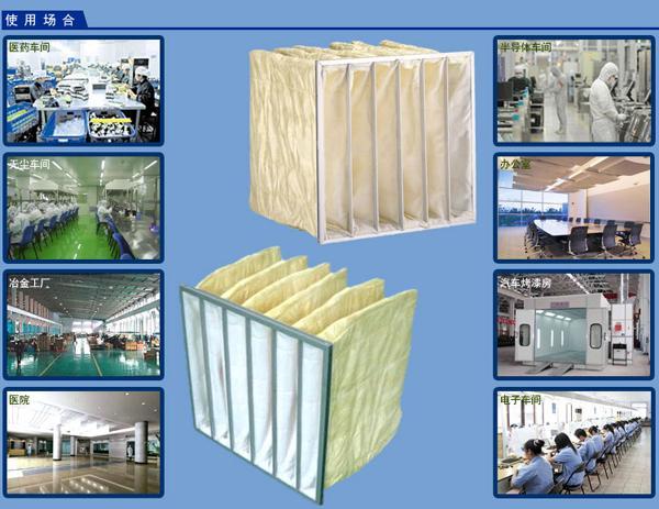 F8中效袋式过滤器应用领域:制药厂、净化空调、无尘室等领域。