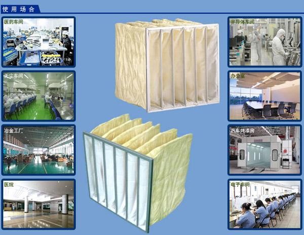 F5级中效袋式过滤器主要应用于电子、精密仪表、机械、冶金、化工、纺织·医药、食品等行业的空气净化过滤